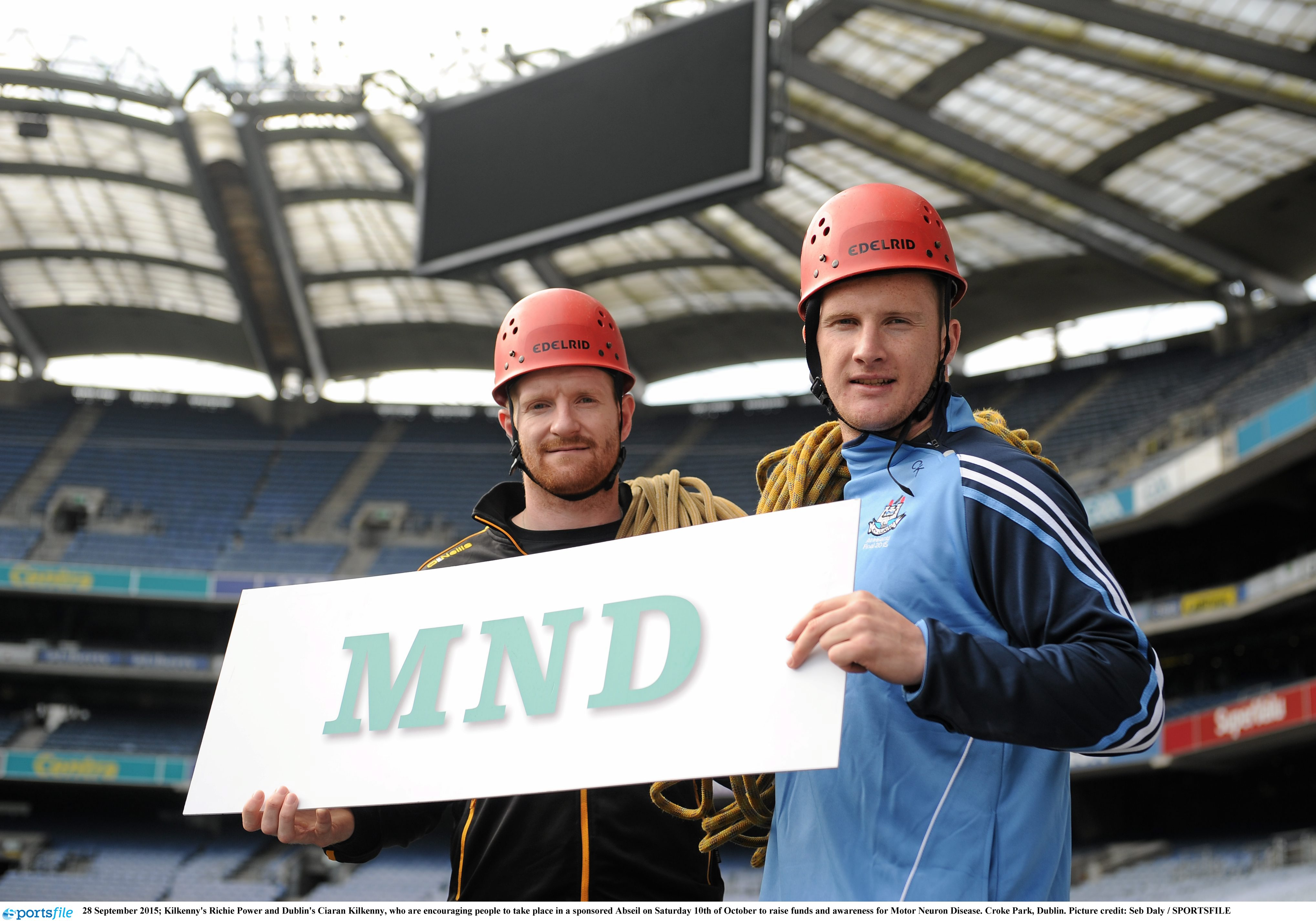 28 September 2015; Kilkenny's Richie Power and Dublin's Ciaran Kilkenny, who are encouraging people to take place in a sponsored Abseil on Saturday 10th of October to raise funds and awareness for Motor Neuron Disease. Croke Park, Dublin. Picture credit: Seb Daly / SPORTSFILE