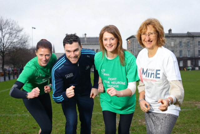 20/1/16***NO REPRO FEE***On hand to help launch The Good Run 2016 in aid of Motor Neurone Disease were (L-R) Gemma Watts (IMNDA), Paddy Andrews (Dublin Senior Footballer), Aoife Brady (Good Run 2015 winner) and Professor Orla Hardiman (Professor of Neurology at TCD and Consultant Neurologist at Beaumont Hospital). Registration for this 5km event in St Anne's Park on Good Friday, 25 March is now open at www.thegoodrunireland.com Pic: Marc O'Sullivan
